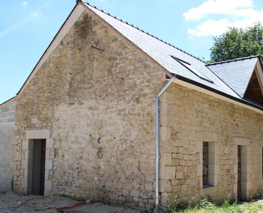 Agrandissement d'une maison en pierres - face nord-ouest